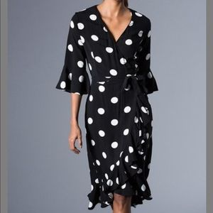 Black Polka Dot Ruffle Tie Waist Wrap Dress